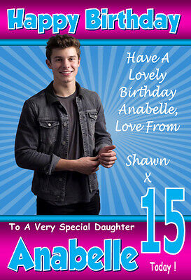 Shawn Mendes birthday card 5x7 inches Personalised plus envelope.
