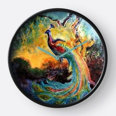 WALL CLOCK based on Exclusive Peacock Design from Antique Enamel Box ~ Elegant