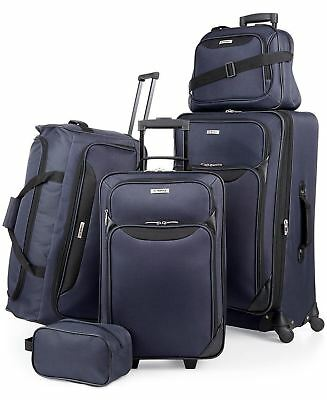 $200 NEW TAG Springfield III Blue 5 PC Luggage Set Expandable Suitcase Navy