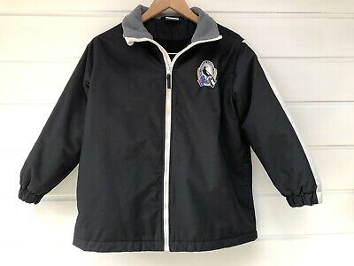 Official AFL Football Collingwood Magpies Kids Winter Rain Jacket Coat - Size 10