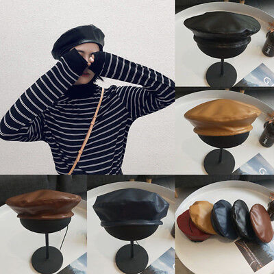 a71543dbdd936 Vintage Women Ladies Faux PU Leather Beret Hat French Cap Winter Gifts