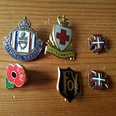 Set Lot Enamel Pin Badge Collection Poppy Red Cross Crown