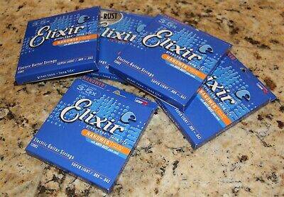 New Elixir Super Light Nanoweb Electric Guitar Strings, 5 Packs, 9-42,12002