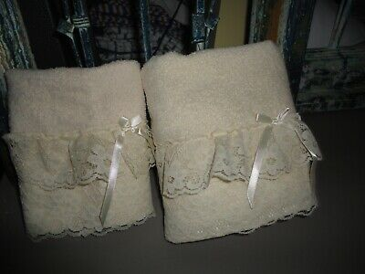 The Bathworks Ivory Victorian Lace Ribbons (2Pc) Set Hand Towel & Washcloth