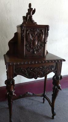 Antique Continental Ornately Carved Walnut Phone Stand w/Angels, Cherubs, etc.