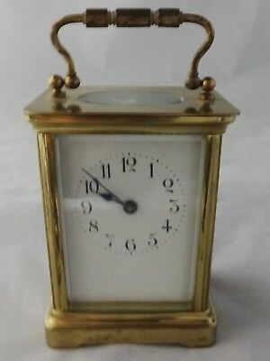 Antique Brass French Made Carriage Clock Beveled Glass No Key