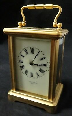 Antique Stowell & Co., Boston Brass Carriage Clock Working with Key