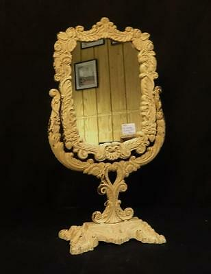 Antique Fancy Cast Iron Dressing Mirror on Swivel Stand