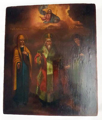 Rare! Antique 19th C Russian Wooden Icon of St.Anna, St.Nicetas and St.Anthisa