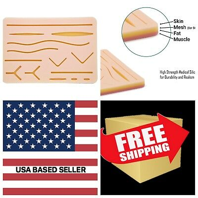 MD Choice Suture Practice Kit Suture Pad  7  x 5- 3-Layers Muscle Fat and Skin