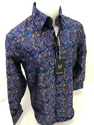 Mens MANZINI Button Up Dress Shirt COLORFUL PAISLEY Designer FRENCH CUFF 311 NWT