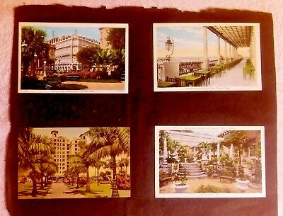 Cuba And  Miami Scenes Vtg Lot Of 4 Postcards Early 1900'S Attached To Scrapbook