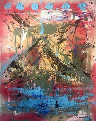 Neo Expressionist Abstract Contemporary Painting LW Jeffrey  20 X 16