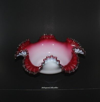 VICTORIAN ☆ BRIDES BOWL ☆ CRANBERRY PINK WHITE RUFFLED and CRIMPED