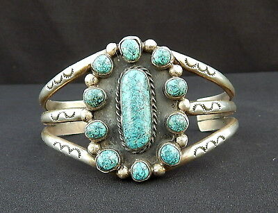 Navajo Sterling Silver & Persian Turquoise Cluster Bracelet. Circa 1960's