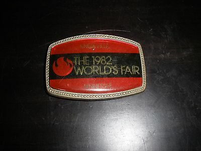 Vintage 1982 Metal and Red Knoxville Tennessee World's Fair Belt Buckle