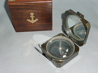 COMPASS with WOODEN BOX      Brass Compass   Brunton Style Compass