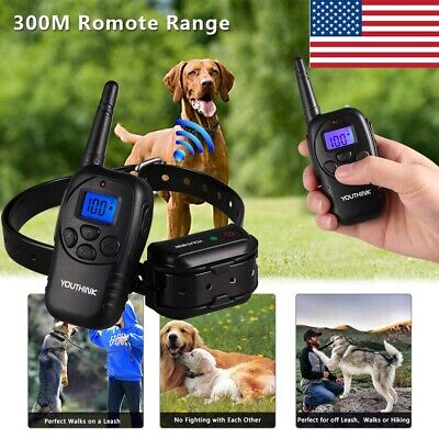 Waterproof LCD Electric Remote Dog Shock Bark Collar Trainer Training 300M