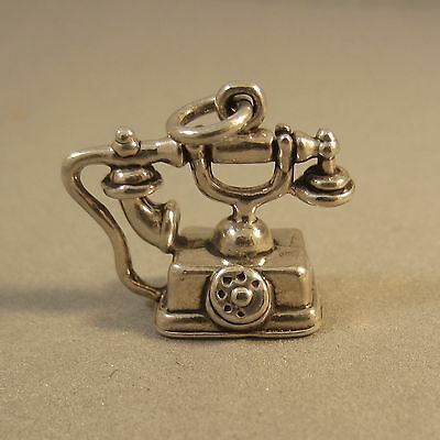 .925 Sterling Silver 3-D Vintage Style TELEPHONE CHARM Antique Old NEW 925 HM23