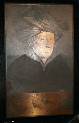 RARE antique 1800's Van Eyck FS Jasiński original engraving copper plate turban