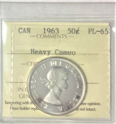 1963 Canada 50 Cents  (80% Silver) ICCS Certified PL- 65 #35304