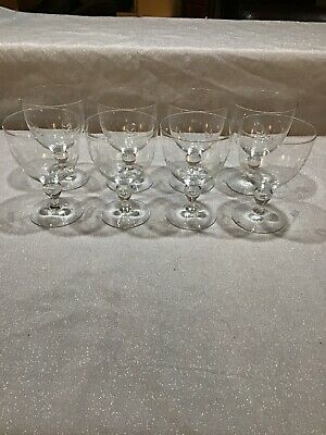 Beautiful Vintage Set of 8  Quality Etched Crystal Wine Glasses Water Goblets