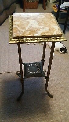 043 Antique Brass & Marble Plant Stand Lamp Table Victorian?