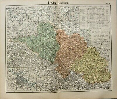 1908 Antique Map ~ Silesia Breslau City Plan Poland Hirschberg Gorlitz