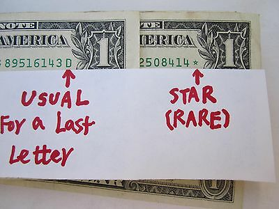 "4=2+2 BIG SALE RARE: Two USA $1"" * "" STAR Paper Money +Two Old One Cent USA Coin"