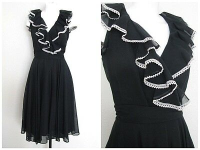 Vtg 70's RUFFLE Crochet Lace DRAPED Sheer GAUZE Hostess Cocktail Party Dress 💖