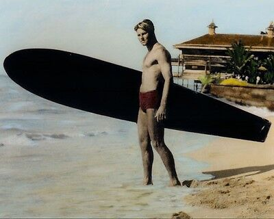 "TOM BLAKE SURF LEGEND WAIKIKI BEACH OAHU HAWAII 8x10"" HAND COLOR TINTED PHOTO"