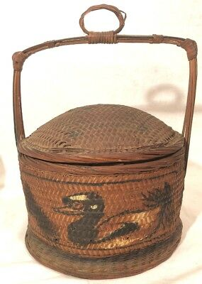 "ANTIQUE CHINESE WEDDING BASKET, DOME LID w HANDLE WICKER BAMBOO 11.5"" X 9"""