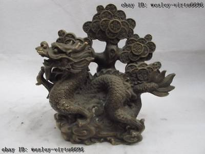 9 China Folk bronze copper Carved lucky Dragon Coin Tree wealth fengshui Statue