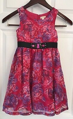 The Childrens Place TCP Girls Lined Summer Dress Pink Purple Flowers Sz 6