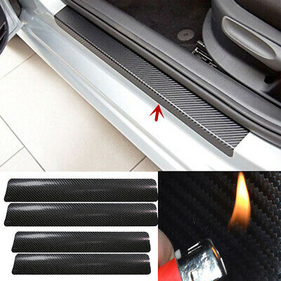 4Pcs 3D Black Car Door Sill Scuff Plate Cover Anti Scratch Carbon Fiber Sticker