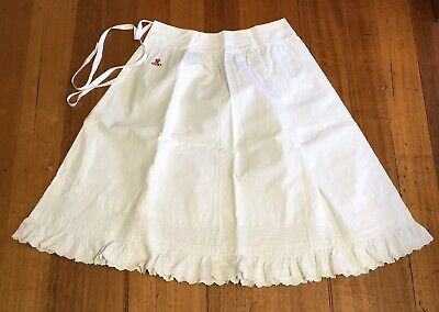 Antique Vintage Linen Red Work Embroidery Petticoat Monogrammed Slip Skirt