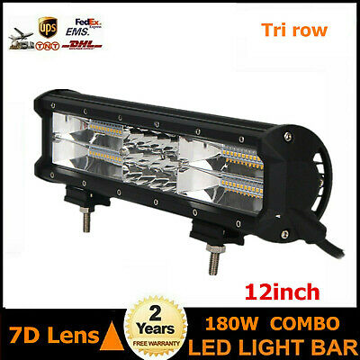 12inch 180W LED Work Light Bar Combo Tri row 7D Drivng Fog Tacoma Boat UTE 72W