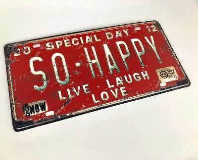 """ SO HAPPY"" Sign Live Love Room Shop Bar Classic Antique Metal Plate C08"