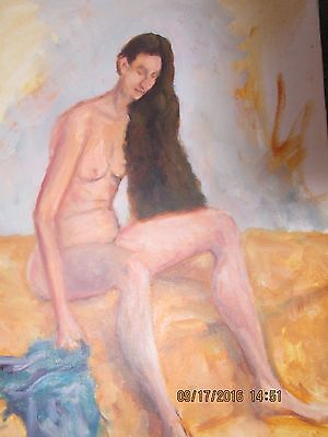 vintage nude painting of woman with long long hair 14 x 11 canvas unsigned