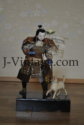 Young MUSHA Japanese MOMOTARO Antique SAMURAI Armor YOROI Doll with DOG 21cm