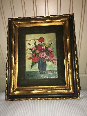Vintage Small Size Original Robert Cox Oil On Board Floral Painting