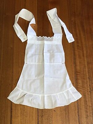 Antique Vintage Linen - French Country White Rustic Button On Apron Pinny