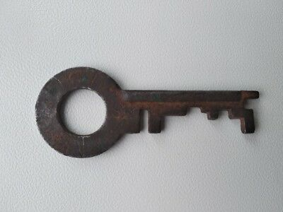 USSR Antique Skeleton Key Old Vtg Rusty Iron Lock Hardware Solid Metal 1,96""