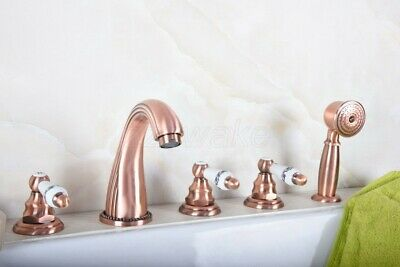 Antique Red Copper 5pcs Roman Bath Tub Sink Faucet with Hand Shower Spray Ztf188
