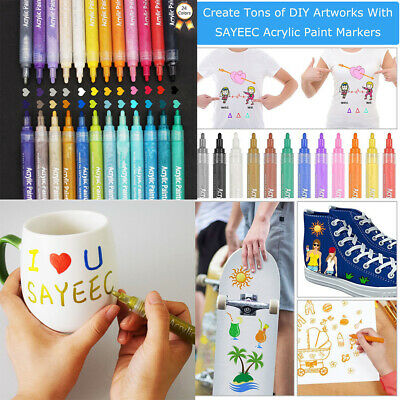 Waterproof 24 Acrylic Pen Paint Markers Ceramic Glass Metal Wood Permanent Art