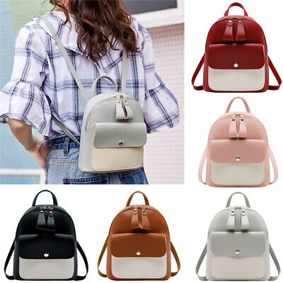 Women Leather cute Children school Mini Backpack Panelled Backpacks