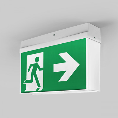 NEW Emergency Exit Sign Light LED Ceiling Mount Running Man Double Sided