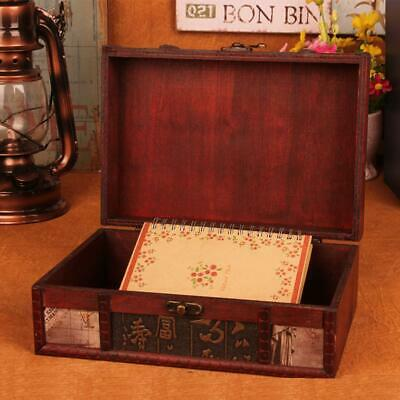 Decorative Trinket Jewelry Lock Chest Handmade Vintage Wooden Storage Box Large