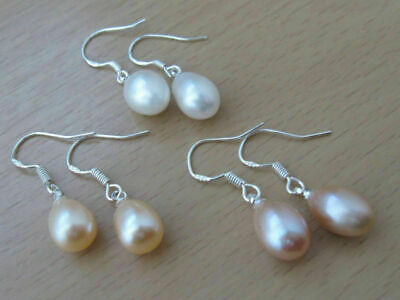 Silver Drop Lavender Peach, White, Pearl 7-8Mm Earrings 925 Freshwater