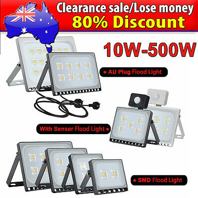 LED Flood Light 10W 20W 30W 50W 100W PIR Motion Sensor/AU Plug Floodlight 240V